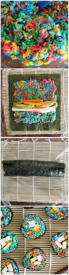 Rainbow Sushi-Prepare the sushi rice- then add a simple mixture of rice vinegar, sugar and salt to the rice to bring it to official sushi-rice status.Divide the rice into four resealable plastic bags and add a few drops of food coloring to each one.Reseal the bag and using your fingers, carefully incorporate the color into the rice. Sushi rice is tres delicate, so now's not the time to take out your aggression.Let the rice hang in the bags for a few minutes to fully absorb the food coloring…
