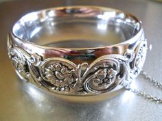 WHITING & DAVIS Hinged Silver Bracelet Ornate by RenaissanceFair