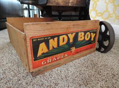 Andy Boy Fruit Crate Andy Boy Grape Crate Wooden by bluejeanjulie