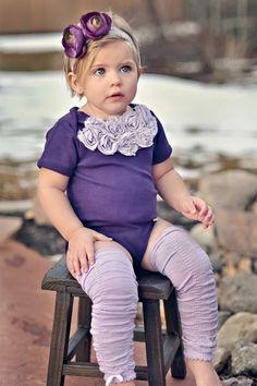 Purple Rosette Onesie Set.  rose applique onesie and ruffled leg warmers. $18