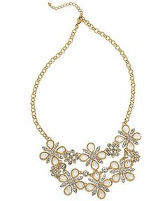 Charter Club Gold-Tone Crystal Large Bib Necklace