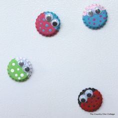 Bottle Cap Big Magnets- DIY Craft. Supplies: Acrylic Paint ( suggested ), googly eyes and glue. And magnets, possibly. I don't think bottle caps are magnetic.... I think they are... whatever,  Good Luck Crafting!
