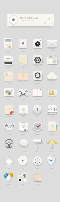 Simplified skeuomorphic icons with sparse and light colors Flat Design Icons, App Icon Design, Logo Design, Branding, It Icons, Launcher Icon, Web Design Mobile, Affinity Designer, Application Design