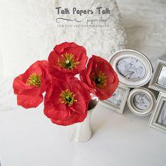 4 red Icelandic poppies  Crepe paper flowers  by TalkPapersTalk