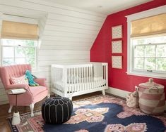 Cook Design House (@cookdesignhouse) on Instagram: Lovely nursery with dark pink accent wall and shiplap