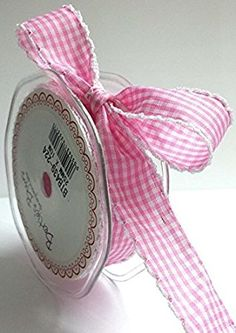 Bertie's Bows Baby Pink Gingham Print White Lace Edge 25mm (NB Sold by the metre)