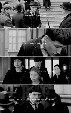 His name's Credence. His mother beats him. She beats all those kids she adopted, but she seems to hate him the most.