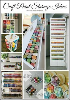 Ideas for storing craft paint to help you become more organized and save time and money!