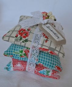 Lavender Filled Vintage Fabric Pillow Stack ~ HenHouseHomemade