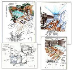 Collage de apuntes previos para estudio de jardín trasero en Peñarroya (Córdoba).