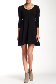 Long Sleeve Solid Fit & Flare Dress by Angie on @nordstrom_rack Sponsored by Nordstrom Rack.