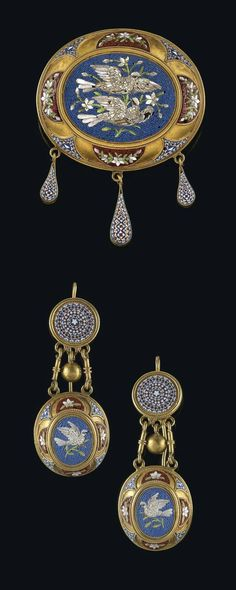 A micro mosaic jewellery set, gold 750, gold-plated, French duty hallmark pre-1893, workmanship late 19th cent., consisting of: brooch and 2 ear pendants,28,5 g