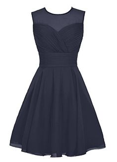 Dresstells Womens Short Scoop Chiffon Bridesmaid Dress See Thorough Party Dress Navy Size 4 >>> More info could be found at the image url.