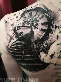 Abstract Time Tattoo by Timur Lysenko - http://worldtattoosgallery.com/abstract-time-tattoo-by-timur-lysenko/
