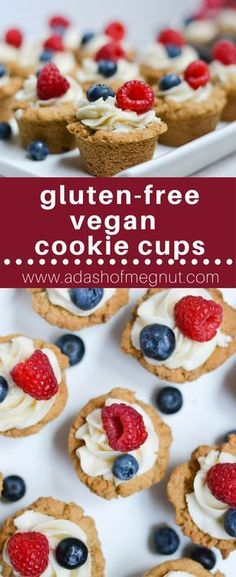 These gluten-free and vegan red, white and blue cookie cups are the perfect patriotic dessert. Sweet dairy-free buttercream and fresh berries top these delicious cookies to make such a fun and festive treat!