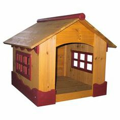 """Cedar wood indoor/outdoor dog house with removable roof and bottom panels. Showcases a classic silhouette and windows.  Product: Dog houseConstruction Material: Kiln dried cedar woodColor: Brown and burgundyFeatures:  Raised floor keeps dog dryNatural scent of wood creates a calming and pleasant atmosphere Dimensions: 23"""" H x 25"""" W x 27"""" DNote: Assembly requiredCleaning and Care: Removable roof and bottom panels for easy cleaning"""