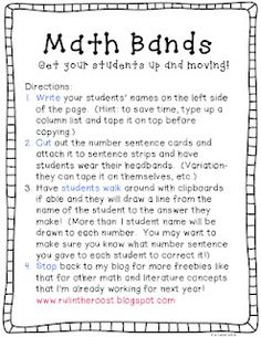 Classroom Freebies Too: Math (head)bands! This printable has single digit addition, but can be revised for adding fractions, decimals, multiplication, division for intermediate grades