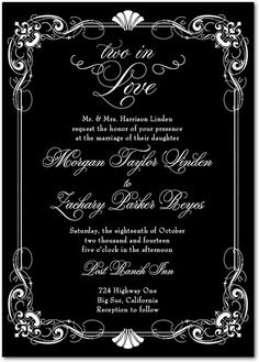 In Deco Love - Signature White Wedding Invitations - East Six Design - Navy - Blue : Front