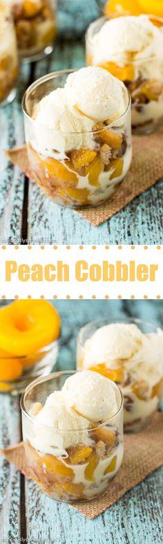 Homemade Peach Cobbler topped with vanilla ice cream!