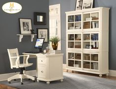 blue grey paint color for office with white furniture
