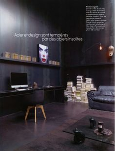 black, black  black home office space