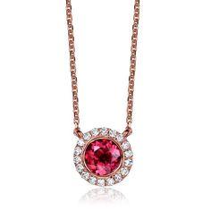 1.0 CT Certified purplish red Tourmaline 18K rose gold necklace with 0.10 ct diamond tourmaline necklace