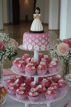 Las Tartas de Paz                     : Mesa dulce rosa para Inés