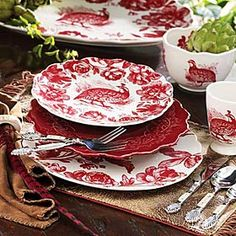 Woodland Toile Dinnerware - great dishes for Christmas