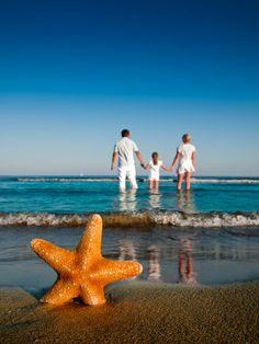 Starfish em Família Areia de Mãos Dadas na praia na Água