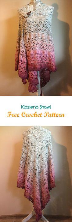 Klaziena Shawl Free Crochet Pattern #crochet #yarn #crafts #style #fashion