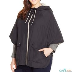 7bb19875aaa Oversized Hooded Rain Jacket Plus Size Coats