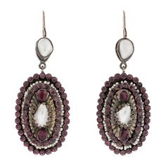 Victorian Hungarian Silver Pearl & Amethyst Earrings