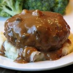 Crockpot Salisbury Steak Used a gravy packet mix instead of au jus and added some sliced fresh mushrooms. Delicious and will make again.