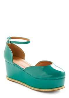 Levels of Fun Flatform - Green, Buckles, Solid, Casual, Wedge, 90s