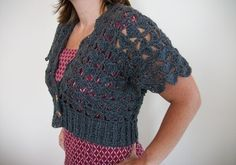 Emume Crochet Shrug, by Donna Okoro.  Etsy crochet pattern has options to make long or cropped.  http://www.mssunflwr.etsy.com