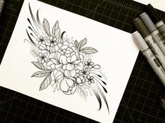 Peony + cherry blossom bicep piece drawn for my client Madeline! I haven't used my #copicmarkers in a MINUTE and I think I'm going to start utilizing them with my shading! If you're interested in commissioning me to draw you up something similar please click the link in my profile and fill out the request form!