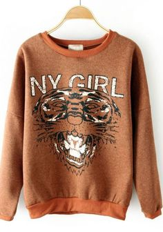 Coffee Round Neck NY GIRL Tiger Print Sweatshirt #SheInside