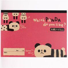 pink panda bear notebook exercise book from Japan