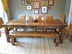 DIY farm table... love it's large but cozy rustic look, and it would hide all the kids' marks and bumps over the years. bench would be good for the kids to sit. paint legs black & get black chairs.