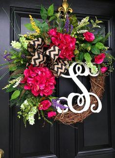 Spring Door Wreath Floral Door wreath Grapevine by FleursDeLaVie