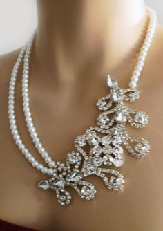 Statement Pearl Wedding Bridal Necklace, Victorian Style ♥✤ | Keep the Glamour | BeStayBeautiful