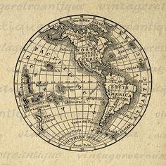 Digital Printable Antique Earth Globe Map Graphic Globe Clip