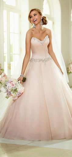 Stella York Wedding Dresses - Search our photo gallery for pictures of wedding dresses by Stella York. Find the perfect dress with recent Stella York photos. Pink Wedding Dresses, Country Wedding Dresses, Wedding Dress Trends, Bridesmaid Dresses, Gown Wedding, Tulle Wedding, Wedding Colors, Mermaid Wedding, Wedding Blog