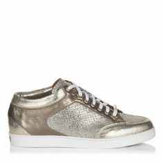 "Best Foot Forward | Jimmy Choo Miami Champagne Glitter Fabric and Metallic Nappa Sneakers $550 jimmychoo.com | VIE Magazine - February 2018 | Destination Issue | ""C'est la VIE Curated Collection: The Traveler"""