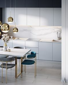 Clarity & gold - Дизайн от студии интерьеров VAE design & architecture Kitchen Room Design, Home Room Design, Home Decor Kitchen, Kitchen Interior, Small Apartment Interior, Luxury Dining Room, Home Furniture, Ikea, Interior Design