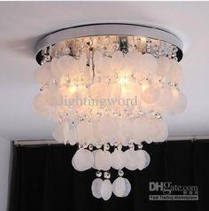 Shining White Shell Creative Ceiling Light Bedroom Dining Shell Light Chandelier Office Light Fitting