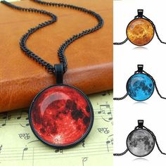 Galaxy Moon Pendant Necklace