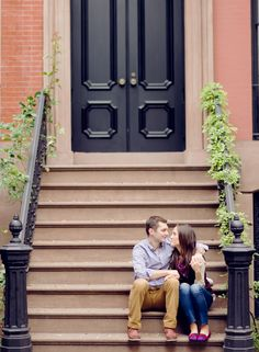 Tribeca doorstep engagement shoot. Photography: Rebecca Yale Portraits - www.rebeccayaleportraits.com Read More: http://www.stylemepretty.com/new-york-weddings/2013/12/20/new-york-city-engagement/