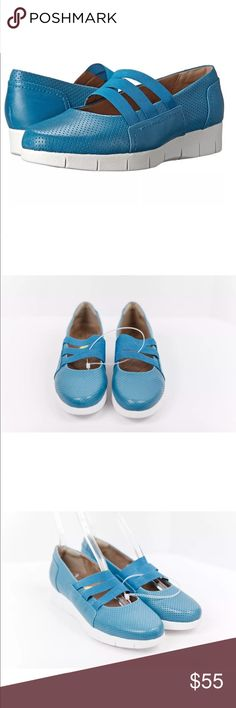 CLARKS Artisan Daelyn City Turquoise Blue Shoes CLARKS Artisan Daelyn City Turquoise Blue Perforated Leather Slip-on Shoes Sz 9. NWOB Clarks Shoes Sneakers