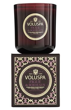 Yummy candle for fall: Voluspa Figue de Bordeaux' My favorite candles ever! Voluspa Candles, Scented Candles, Archipelago, Perfume, Versailles, Brazilian Blowout, Nordstrom, Luxury Candles, White Candles